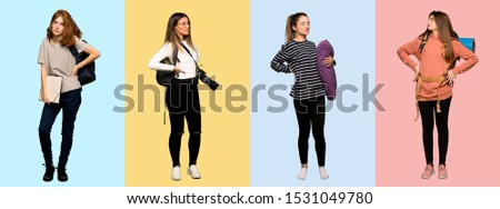 Set of travel woman, photographer, student and in pajamas suffering from backache for having made an effort