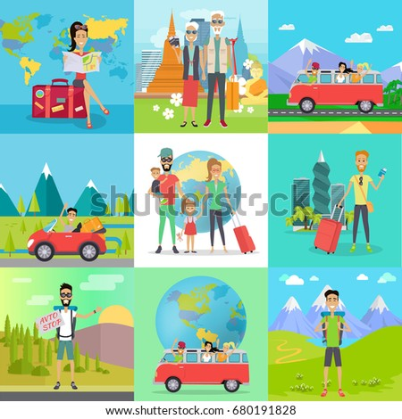 Set of traveling concepts. Flat design. Auto stop, hiking, car travel with friends, family journey, traveling in old age, trip around the world illustrations. Tourists in different countries.