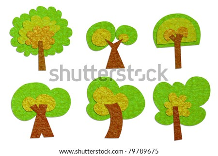 Set of tree recycled paper craft stick on white background.