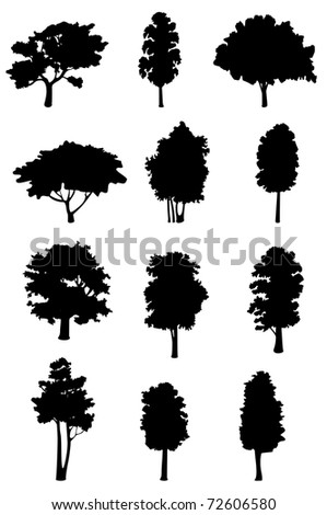 Set of tree silhouettes for ecology design. Vector version also available in gallery