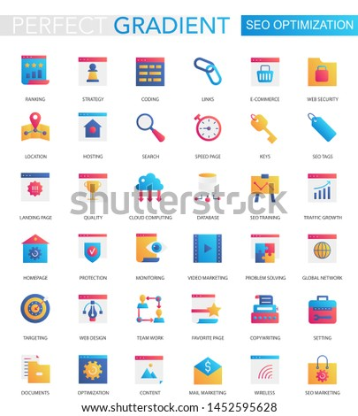 set of trendy flat gradient SEO optimization icons.