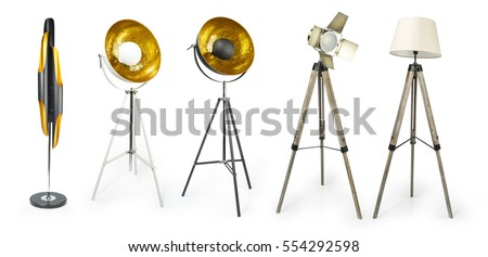 Set of Tripod Light projector isolated on white with clipping path included, Decorative light projectors isolated