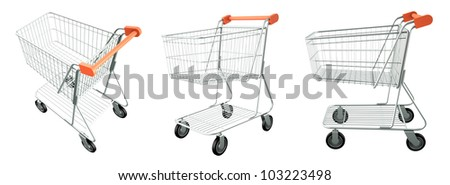 Set of trolley from the supermarket. High res 3d render. Isolated on white background