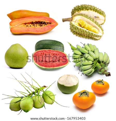Set of tropical fruit in Thailand, Fruit isolated