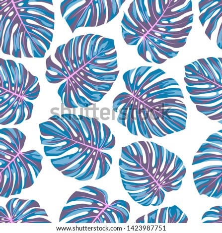 Set of tropical monstera leaves. Monstera leaf. Blue-pink version.