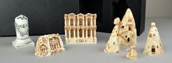 Set of Turkish historical monuments, mini statue sculpture figures. Izmir Bergama Ephesus, Cappadocia, Trabzon Sumela monastery historical and touristic gifts and souvenirs. Turkish souvenirs set.