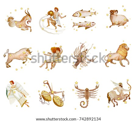 Set of twelve signs of the zodiac, watercolor in retro style. Isolated on white background