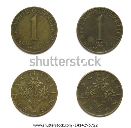 Set of 2 (two) different years vintage Austrian 1 Schilling aluminum bronze coins lot 1968, 1970 year, Austria.