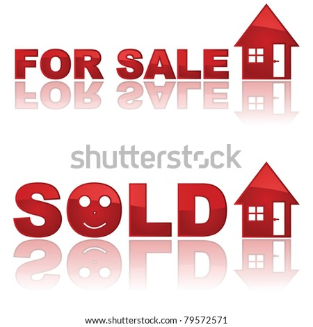 Set of two glossy real estate signs showing a house for sale and another one sold