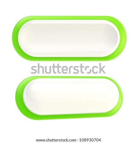 Set of two green glossy copyspace button template banners isolated on white