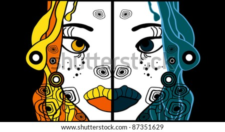 set of two halloween woman cartoon portraits, party background for text