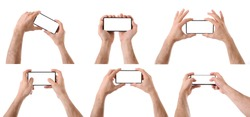 Set of two hands picking up a mobile phone for multimedia or playing on isolated white background
