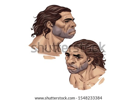 Set of Two High Resolutions Full Color Neanderthal Head Illustration Stock photo ©