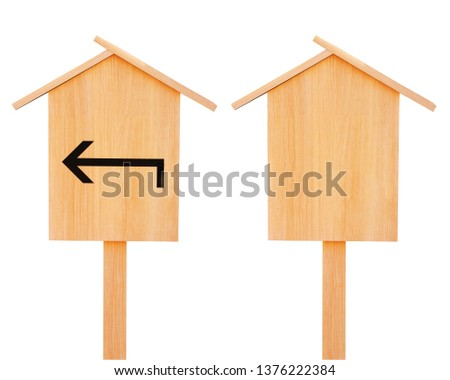 Set of two old wooden signboards - blank and with arrow. Object isolated on white background. Mock up template. Copy space for text #1376222384