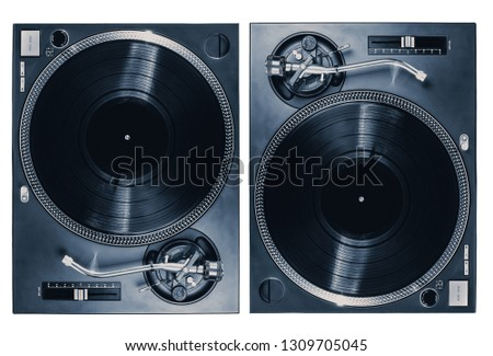 Set of two professional dj turntables isolated on white background.Pair of cut out retro turn table vinyl players for disc jockey.Nightclub concert equipment for party.Djs setup for music festival