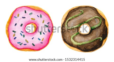 Set of two watercolor hand painted sweet and tasty donut glazed with cream and sprinkling confectionery. Perfect for card, postcard, wedding card, invitation, birthday card, menu, recipe.