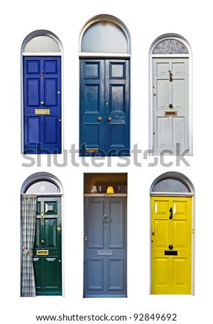 set of typical English doors
