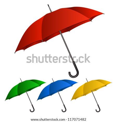 Set of umbrellas on white background.