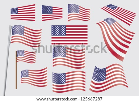 set of United States flags