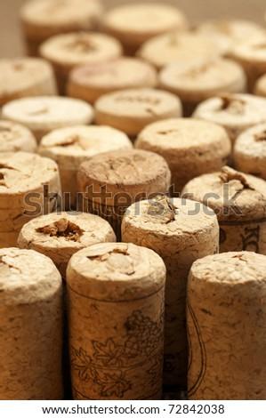 Set of used vintage wine corks close-up. - stock photo