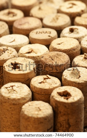 Set of used vintage wine corks close-up.