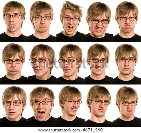 Set of useful man faces isolated on white
