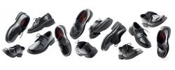 Set of variations of foreshortenings black leather shoes in perspective isolated on white background. Flying of objects. Concept levitation in air