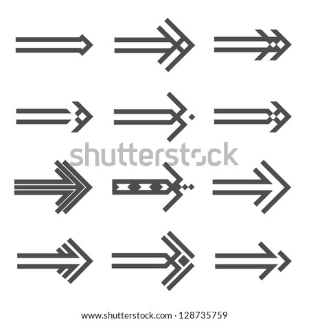 Set of various arrows sign. Raster version