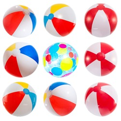 Set of various beach balls. Isolated on white background.