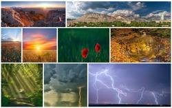 Set of various beautiful landscapes: mountains, thunderstorm, sunrise, sunset, field of flowers, lightning, autumn