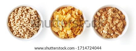 Set of various breakfast cereals isolated on white background, top view Сток-фото ©