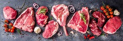 Set of various classic, alternative raw meat, veal beef steaks - chateau mignon, t-bonnet, tomahawk, striploin, tenderloin, tenderloin, new york steak. Flat lay top view on gray stone cutting table