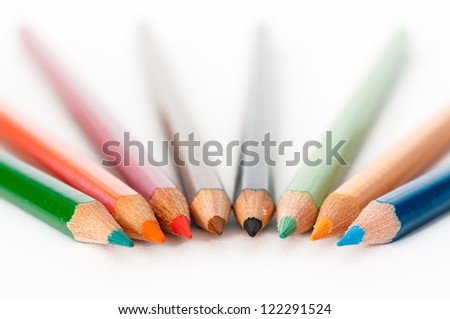 Set of various colored pencils