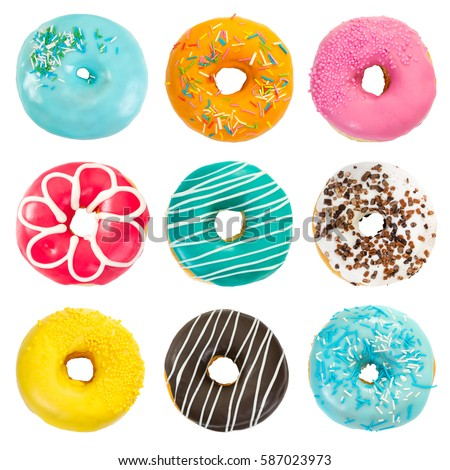 Set of various colorful donuts isolated on white background. Top view.