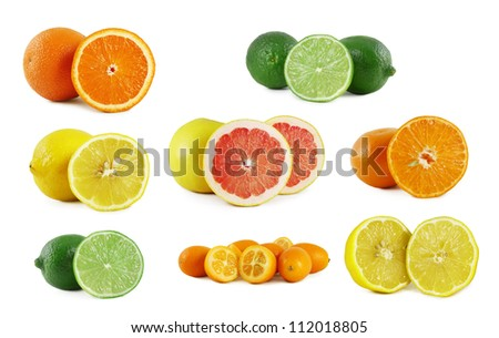 Set of various cut citrus.