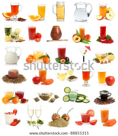 Set of various drinks on a white background