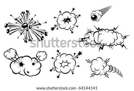 Set of various explosions isolated on white. Vector version also available in gallery