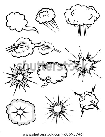 Set of various explosions. Vector version also available in gallery
