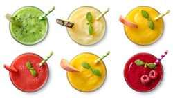 Set of various fresh fruit smoothies isolated on white background. Top view