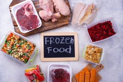 Set of various frozen products, vegetables and meat