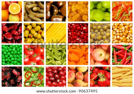 Set of various fruit and vegetables