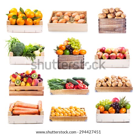 set of various fruits and vegetables in wooden box on white background #294427451