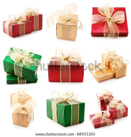 Set of various gifts isolated on white background.