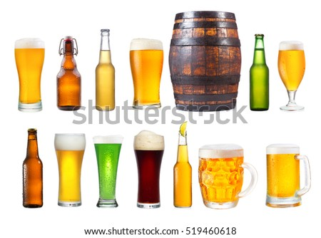 Shutterstock set of various glasses, mugs and bottles of beer isolated on white background