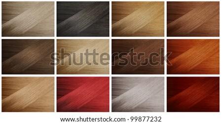 Set of various hair colors samples