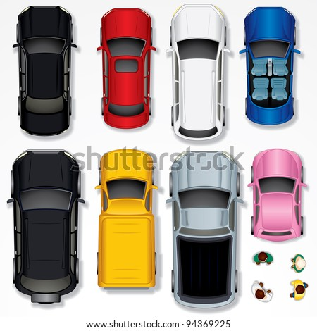 Set of Various Isolated Cars, Top View Position