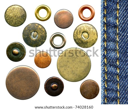 Set of various jeans' metal rivets and buttons, isolated on white background