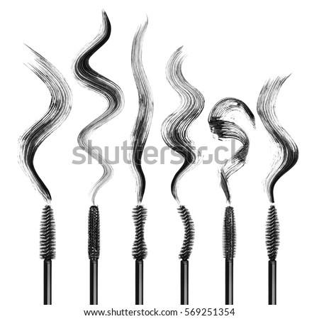 Shutterstock Set of various mascara brushes with mascara strokes isolated on white background