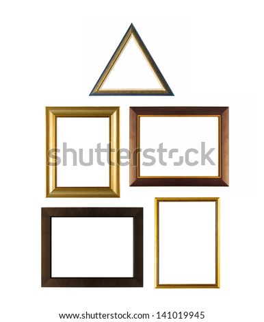 Set of various modern and vintage picture frames isolated on white
