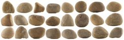 set of various natural pebble stones isolated on white background